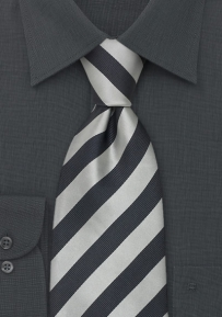 Striped Silk Neck Tie in Black and Silver