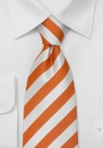 Extra Long Striped Tie Orange White