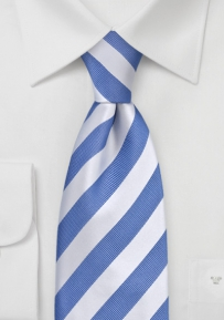 Sky Blue and White Striped Tie for Kids