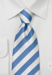 Striped Silk Tie in Sky-Blue and White