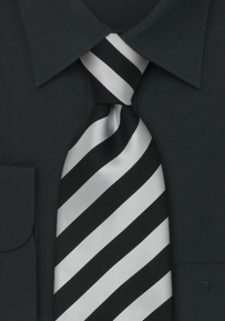 Black and Silver Striped Necktie