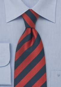 Striped XL Silk Tie in Red and Navy