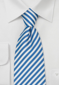 Mens Silk Tie With White and Light Blue Stripes