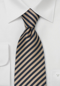 Narrow Striped Silk Tie in Tan and Navy-Blue