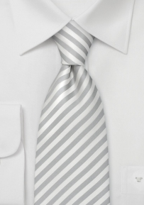 Narrow Striped White Silk Tie