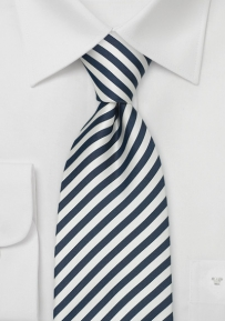 Striped XL Tie in Dark Blue White