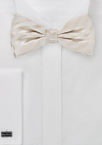Men's Formal Silk Bow Tie in Ivory (pre-tied style)