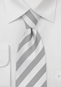 Striped Silk Necktie in Silver and White