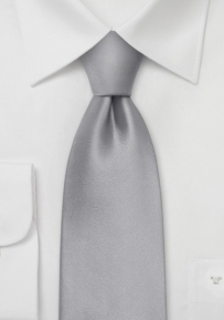 Extra Long Tie in Bright Silver