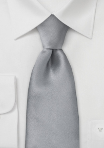 Silk Tie in Bright Silver