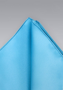 Bright Cyan Blue Silk Pocket Square