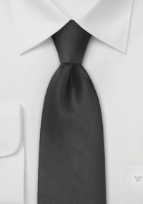 Formal Solid Black Silk Tie in Extra Long