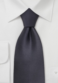 Solid Charcoal Gray Silk Tie