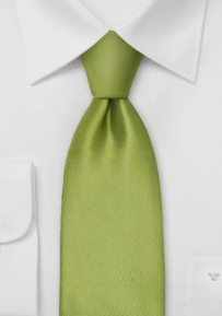 Solid Apple Green Silk Tie in XL Length