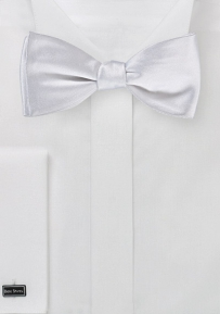 Solid White Silk Bow Tie in Self Tie Style