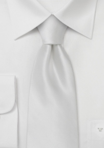 Mens Solid Color Silk Tie in Bright White