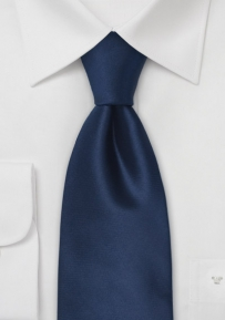 Solid Dark Navy Silk Tie in XL Length