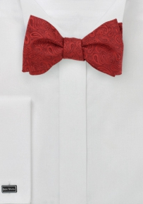 Venetian Red Self Tie Bow Tie with Paisleys