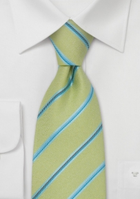 Lime Green and Blue Striped Silk Tie