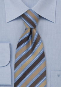 Classy Striped Silk Tie in Beige, Brown, Light Blue