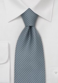 Gray Striped Mens Tie