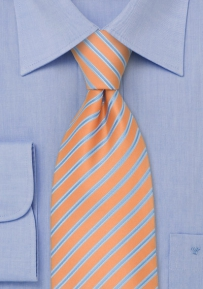 Peach Orange and Baby Blue Striped Kids Tie