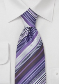 Striped Necktie in Lavender and Purple