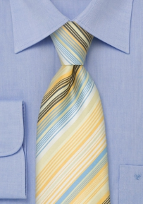 Modern Striped Tie in Yellow and Baby Blue