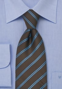 Striped Necktie in Chocolate Brown and Light Blue