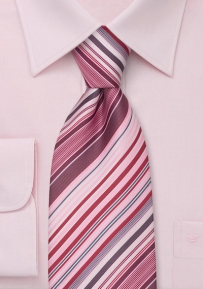 Modern Striped Necktie in Pink, Rose, Gray, and White