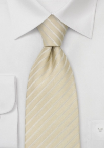 Extra Long Length Striped Tie in Champagne-Tan Color