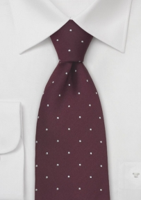 Chestnut-Brown and White Polka Dot Tie in XL