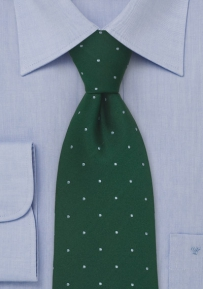 Green Silk Tie with Gray Polka Dots