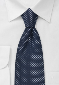 Dark Blue Kids Tie With Small White Polka Dots