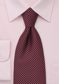 Wine Red and Pink Polka Dot Tie