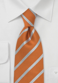 Extra Long Silk Tie Orange and Silver