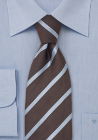 Striped Silk Tie in Chocolate-Brown and Baby-Blue
