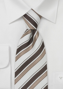 Italian Striped Silk Tie in Snow-White, Tan, and Brown