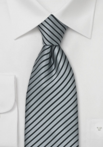Narrow Silver Black Striped Tie