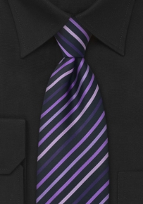 Modern Striped Mens Tie in Rose, Lavender-Purple, and Black