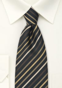 Modern Striped Tie in Brown, Gold, and Black