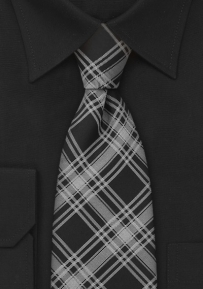 Checkered Pattern Mens Tie in Black and Gray