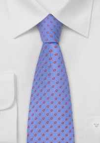 Blue Designer Tie With Red Flower Pattern