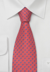 Coral Red Designer Tie in XL Length