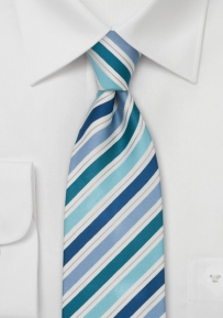 Extra Long Designer Tie in Blue and Turquoise