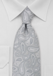 Extra Long Paisley Mens Tie in Silver Gray