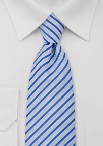 Modern Necktie Light Blue White Stripes