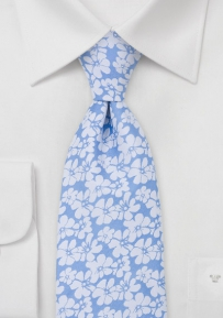 Hibiscus Floral Tie in Light Blue White