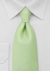 Solid Light Lime Green Mens Necktie in Long Length