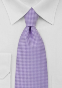 Checkered Pattern Lavender XL Length Tie